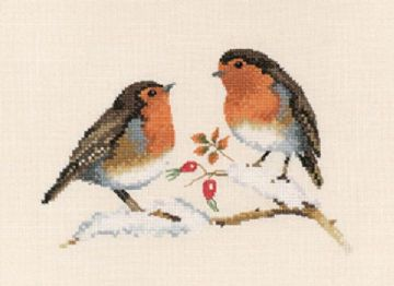 Winter Robins  by Valerie Pfeiffer Cross Stitch Kit